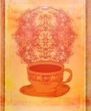 retro kort med kaffe Arkivbild