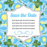 Retro kort med meddelandet över blåa blommor Fotografering för Bildbyråer