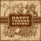 Retro kortbrunt för lycklig tacksägelse Arkivbild