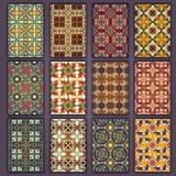 Retro kortskjortor för samling med etniska bakgrunder Kort av inbjudan med tappningdesignbeståndsdelar Royaltyfri Bild