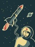 Retro kosmonautontwerp Stock Foto's