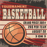 Retro koszykówka turnieju plakat Fotografia Stock