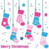 Retro Kousen van Kerstmis Royalty-vrije Stock Afbeeldingen