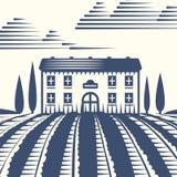 Retro krajobraz ilustraci gospodarstwa rolnego domu rolnictwa wektorowej graficznej wsi sceniczny antykwarski rysunek Obrazy Royalty Free