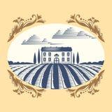 Retro krajobraz ilustraci gospodarstwa rolnego domu rolnictwa wektorowej graficznej wsi sceniczny antykwarski rysunek Fotografia Stock