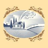 Retro krajobraz ilustraci gospodarstwa rolnego domu rolnictwa wektorowej graficznej wsi sceniczny antykwarski rysunek Fotografia Royalty Free