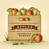 Retro krat van appelen Stock Foto