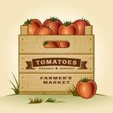Retro krat van tomaten Stock Foto's