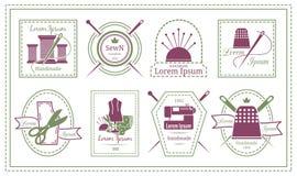 Retro krawczyna etykietki lub uszycie emblematy royalty ilustracja