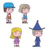 Retro kreskówka żartuje dziecko dziewczyn i chłopiec ikony Obrazy Stock