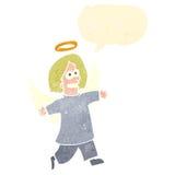 retro kreskówka anioł z mowa bąblem Fotografia Stock