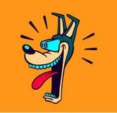 Retro kreskówka stylu psia głowa zadziwiona i szczęka zrzut ilustracja wektor
