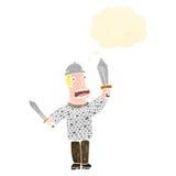 retro kreskówki średniowieczny żołnierz Zdjęcia Royalty Free