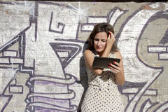 Retro kropkowana dziewczyna fotografia stock