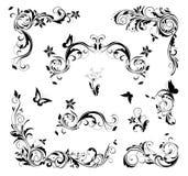 Retro krusidullar planlägger ställde in för sidagarnering svart white stock illustrationer
