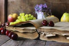 Retro książki i wiśni jagoda Obrazy Stock
