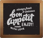 Retro kulinariskt tecken för Bonappetit stock illustrationer