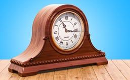 Retro kurant salopy zegar, półka zegar na drewnianym stole 3D r ilustracja wektor