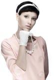 retro kvinna för 60-talklänningpink arkivfoto