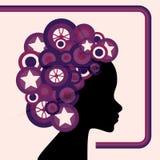 retro kvinna för cirkel vektor illustrationer