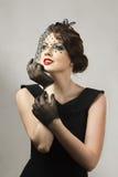 retro kvinna för härlig stående Arkivfoto