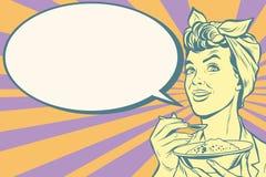 Retro kvinna som äter morgonhavregröt vektor illustrationer