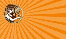 Retro kvinnabartenderPouring Keg Barrel öl Fotografering för Bildbyråer