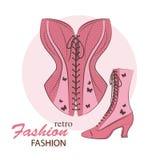Retro kvinnakorsett och skor vektor illustrationer