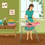 Retro kvinnastrykning av kläder Royaltyfri Bild