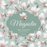 Retro kwiat karty magnolia Obraz Stock