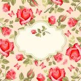 Retro kwiat karty róże Obrazy Stock