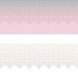 Retro kwiecisty koronkowy bezszwowy granica set Fotografia Stock