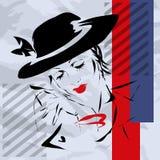 Retro la donna in un cappello Fotografia Stock Libera da Diritti