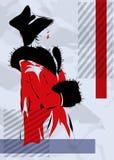 Retro la donna in un cappotto rosso Fotografia Stock Libera da Diritti