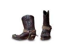 Retro laarzen van de Cowboy isoleren op wit Royalty-vrije Stock Foto