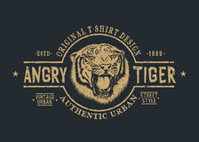 Retro label with angry tiger. Stock Photo