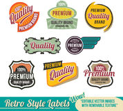 Retro label Banner set. Vintage retro label, banner and tags - vector decorative icon and logo elements for print and web, with grunge effect texture Stock Image