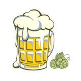 Retro label of beer glass Stock Photos
