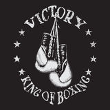 Retro label with boxing gloves Royalty Free Stock Images