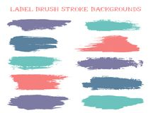 Retro label brush stroke backgrounds. Paint or ink smudges vector for tags and stamps design. Painted label backgrounds patch. Interior paint color palette royalty free illustration