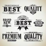 Retro label collection. Typographic design Stock Photos