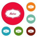 Retro label icons circle set vector. Isolated on white background Royalty Free Stock Photography