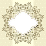 Retro label with lace over beige background. Light polka dot background with blank retro label and lace Stock Image
