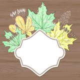 Retro label with leaves over brown wood Royalty Free Stock Photos