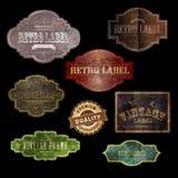Retro labels 4 black Stock Photos