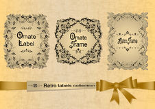 Retro labels collection with ribbon Stock Photos