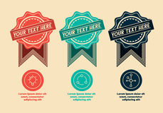 3 retro labels and icons stock illustration