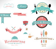 Retro labels restaurant. Collection of vintage retro grunge restaurant labels Stock Photography