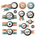 Retro labels and ribbons Stock Photo