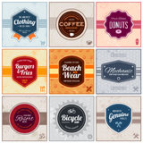 Retro labels. Set of retro vintage badges and labels with backgrounds Royalty Free Stock Image